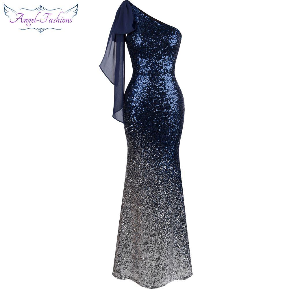3943172804b9 Vestido de noche largo con adornos de ángel Vestidos de sirena degradados  con lentejuelas azules 286