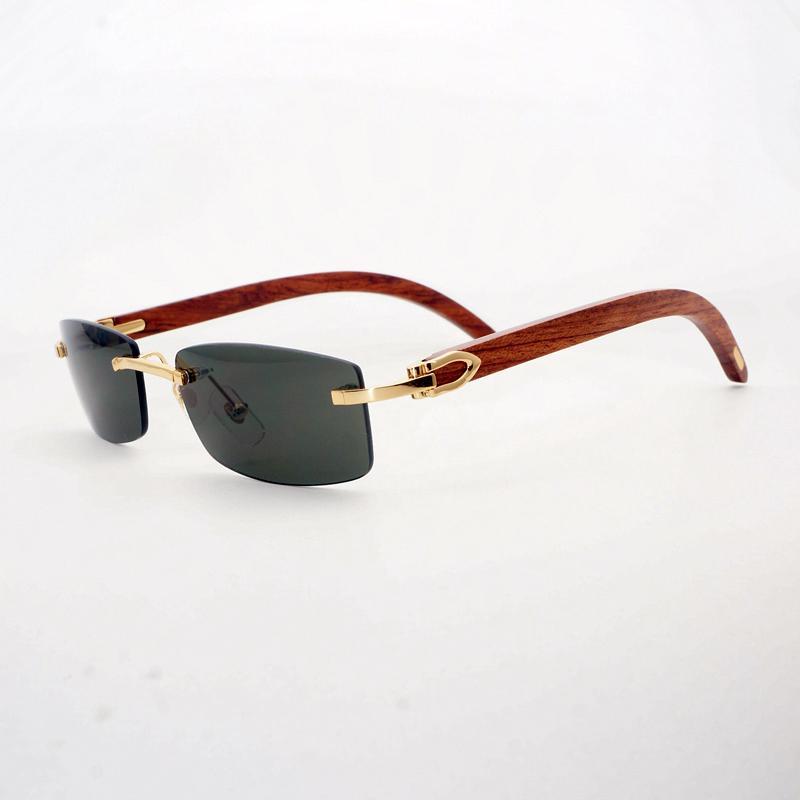 142b6e4d8 Compre Lente Pequena Óculos De Sol De Madeira Dos Homens Natural Búfalo  Chifre Sem Aro Eyewea Gafas Quadrados De Madeira Oculos Shades Para Shades  Ao Ar ...