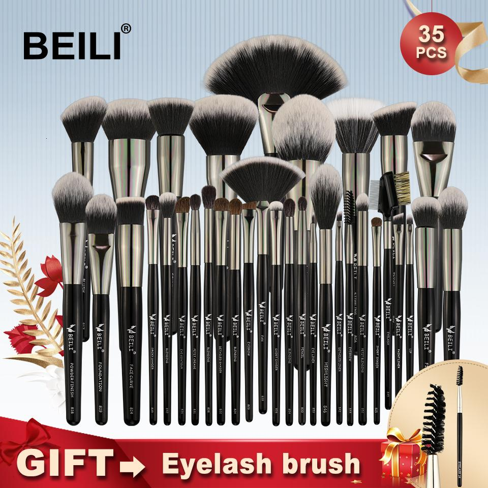 Beili Schwarz 35 Stück Make-up Pinsel Set Professionelle weiche Naturborsten Blending Braue Concealer Creme Foundation PowderMX190918