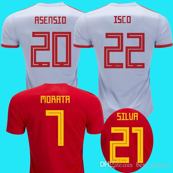 aa45f6493 2019 Spain Away 2018 World Cup Soccer Jerseys ASENSIO Spain National  Football Shirt MORATA RAMOS ISCO INIESTA Camiseta PIQUE DIEGO COSTA Maillot  From ...