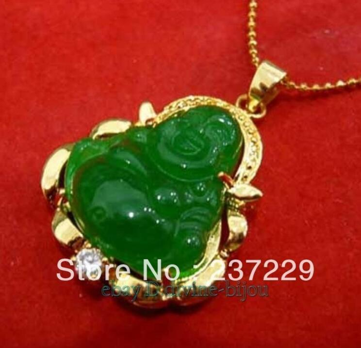 e80169430b409 FREE SHIPPING New lucky Green stone buddha Pendant Necklace