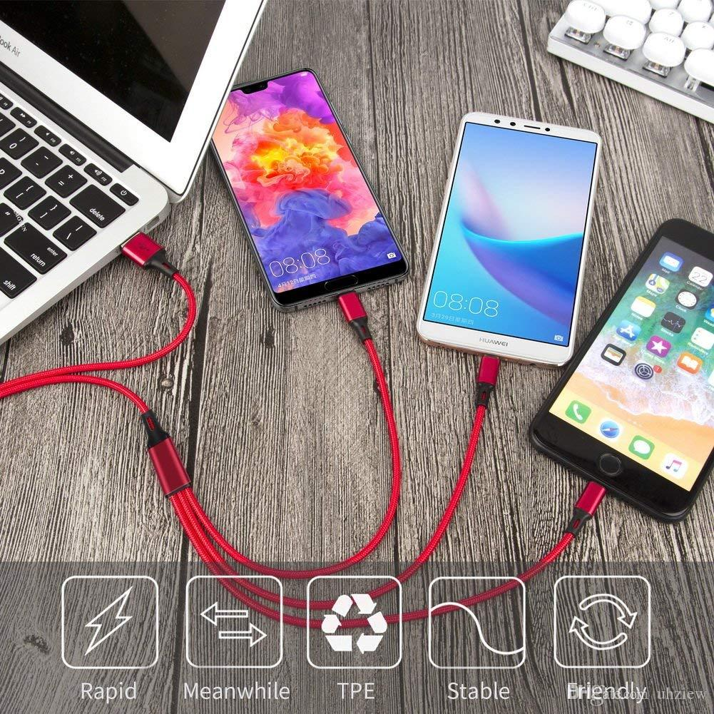 Three In One Data Line For Android Apple Type-c Mobile Phone Multi-function Usb One Dragging Three Data Charge Cable FDC08