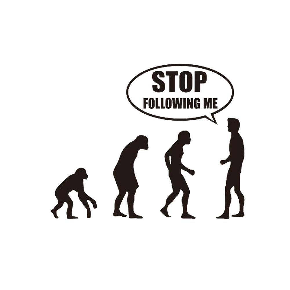 Don T Follow Me Funny Evolution Car Stickers Stickers Window Science Decoration Interesting Personality Pattern