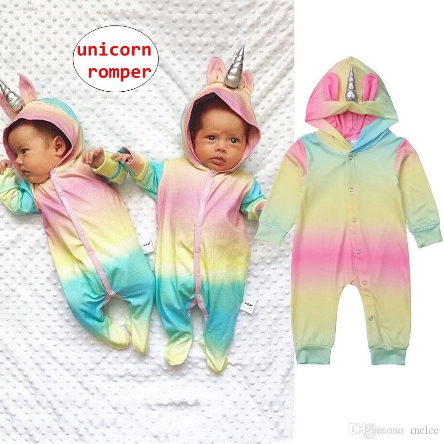 44fe3e82eee 2019 Toddler Unicorn Rainbow Romper Baby Unisex Long Sleeve Jumpsuit With  Horn Spring Autumn Hooded Bodysuit 4Size From Melee
