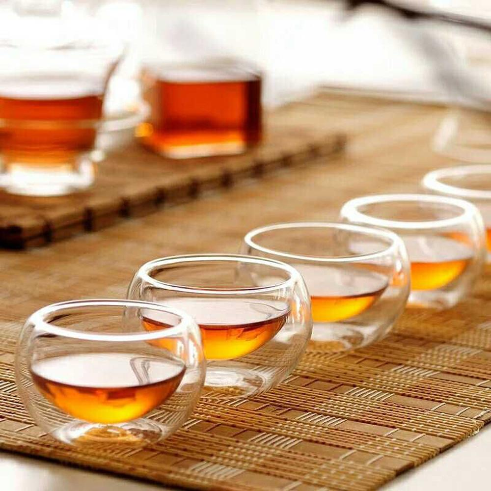 Double Wall Layer 50 ml Glass Cup Coffee Kung Fu Tea Cups Glassware Fruit Juice Coffee Pots Beer Set Clear Small Handheld
