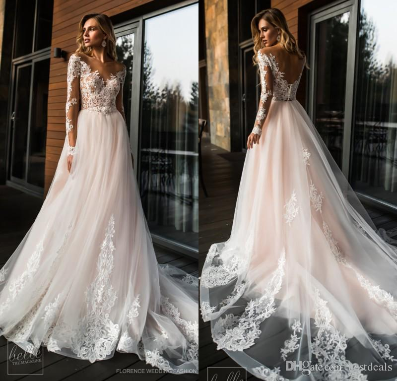 Pink Wedding Dresses 2019: Discount 2019 Blush Pink Boho Wedding Dresses V Neck Long