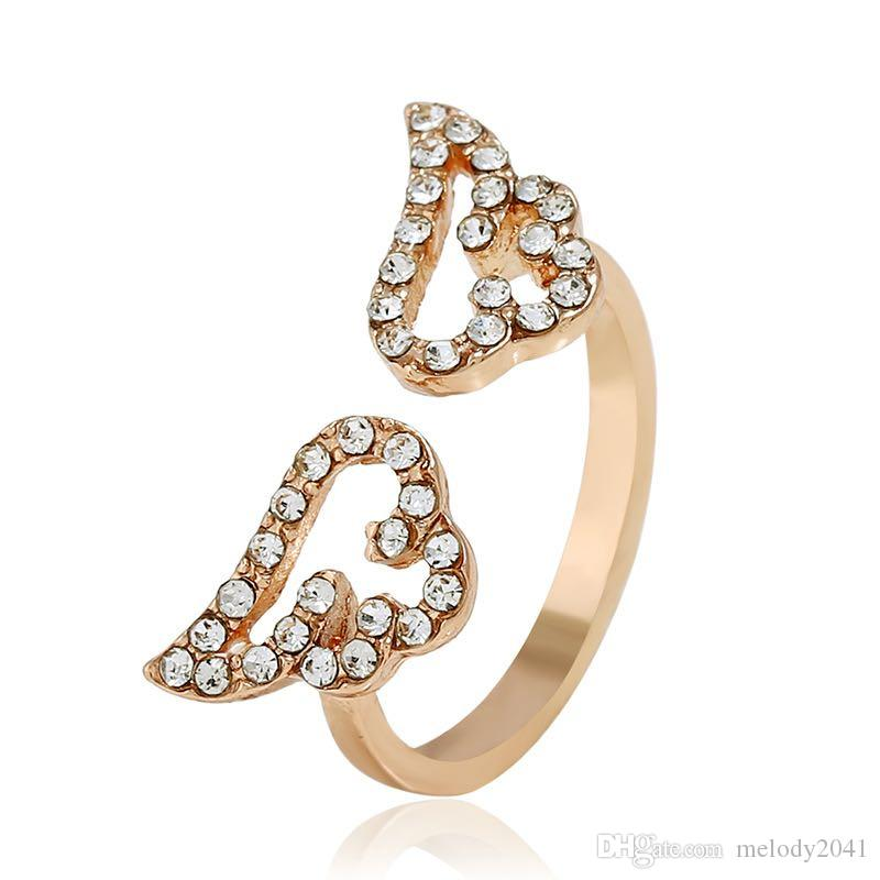 New Fashion Angel Wing Opening Ring With Rhinestones Cute Girls Middle Rings 3 Colors Micro Zircons Women Jewelry Gift Lady Accessory