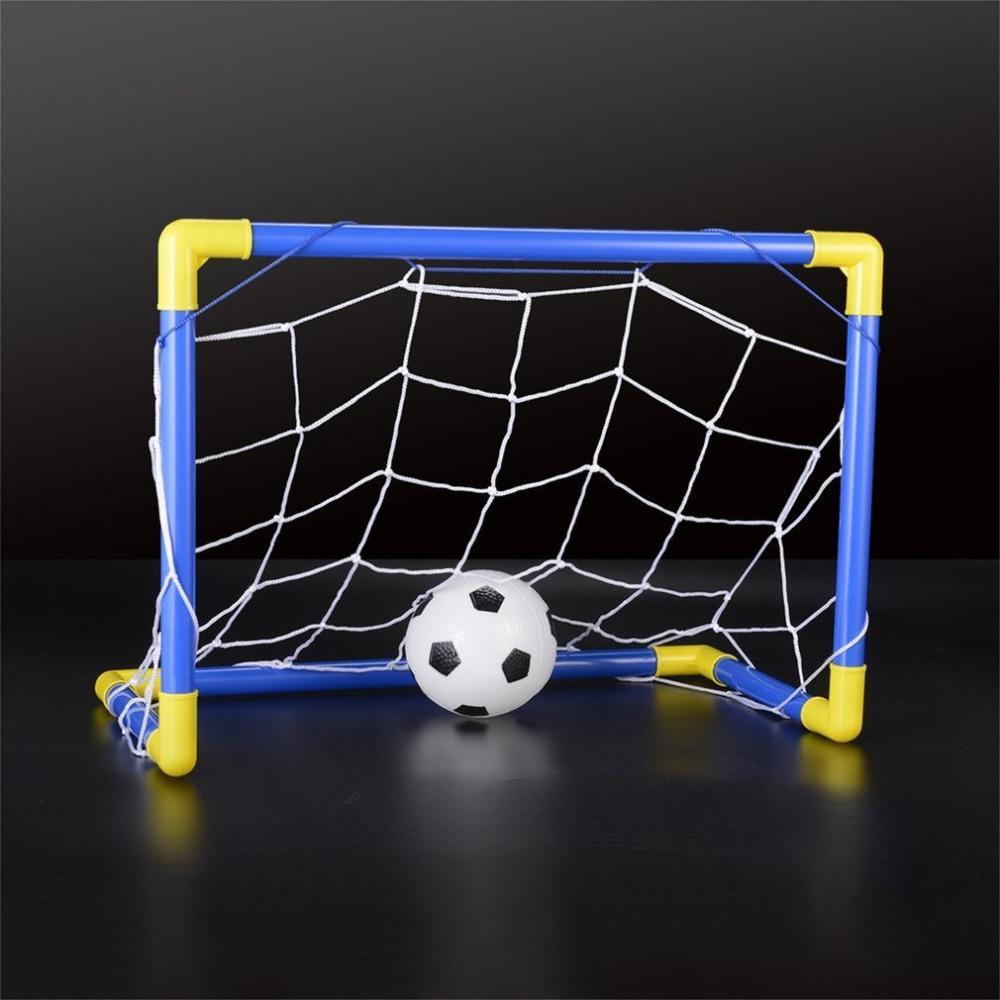 2a9fd1b948c03 Acheter Mini Ballon Pliable, Ballon De Football Poteau De But En Filet +  Pompe Enfants Sport Jeux D'intérieur De Plein Air Jouets Cadeau  D'anniversaire Pour ...