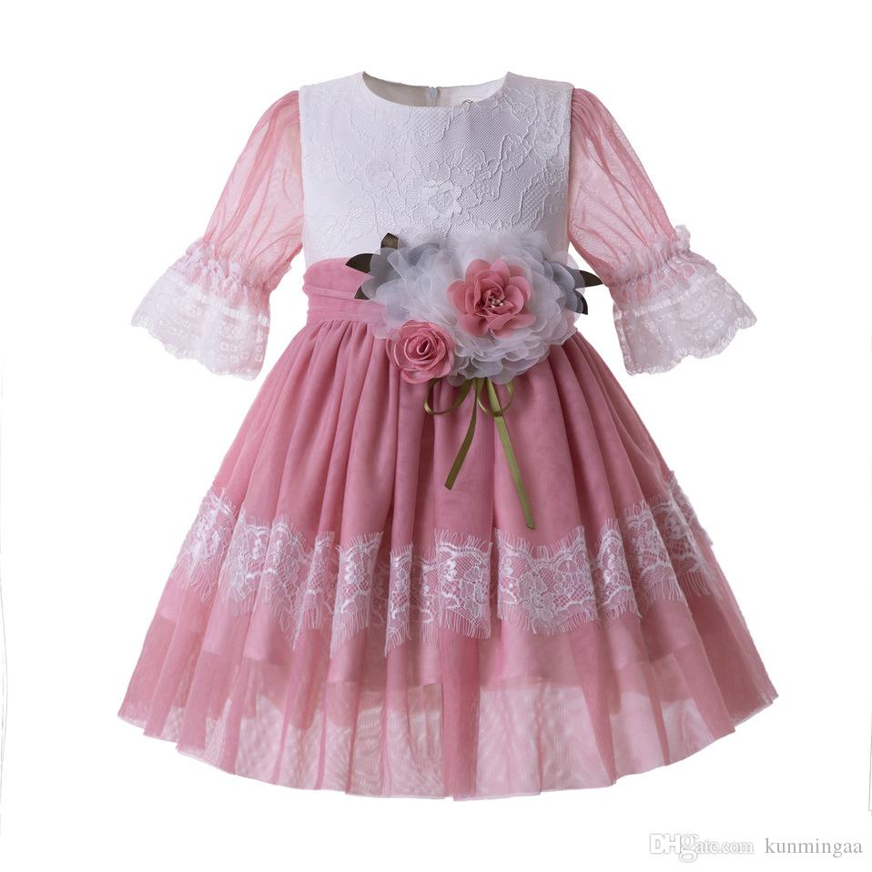 2019 Girl Pink Mesh Communion Pageant Dress Wedding Birthday Ceremony Dress With Flower Kid Costume