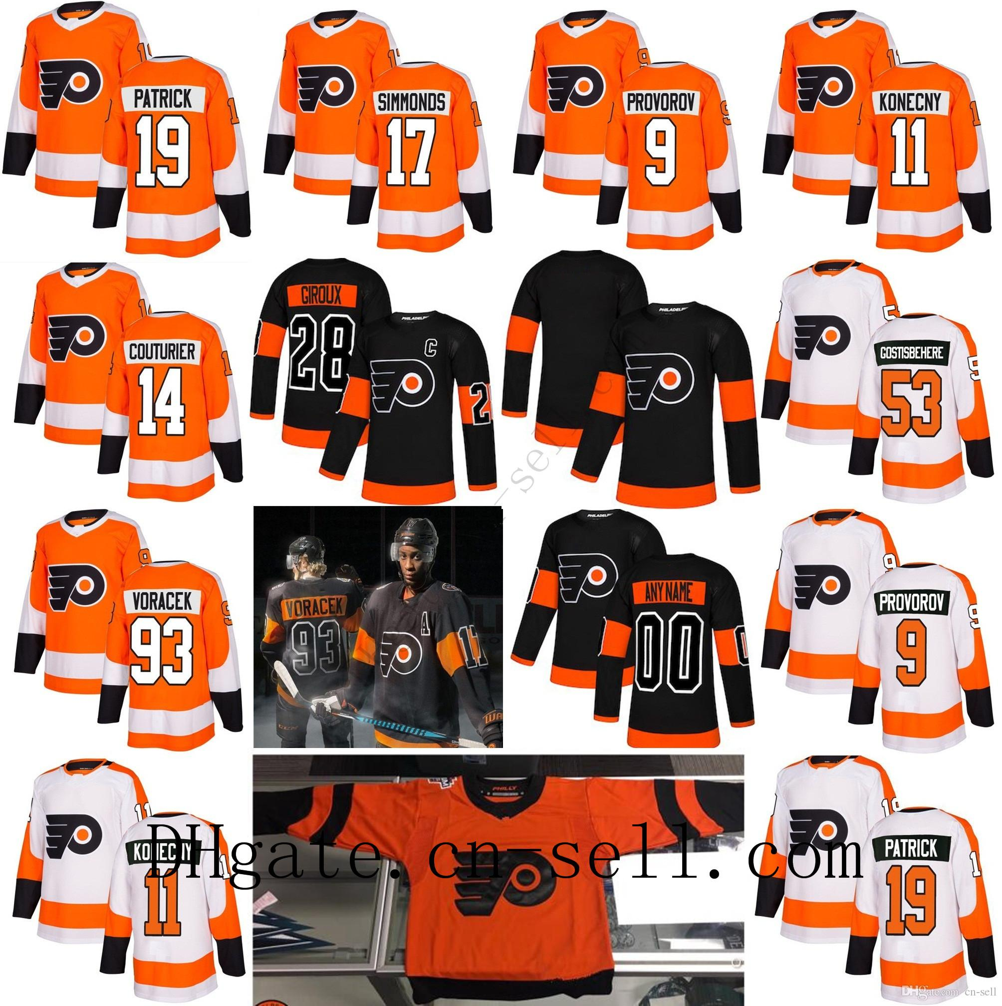 new style 05580 c57f7 2019 Stadium Series Philadelphia Flyers 53 Shayne Gostisbehere Wayne  Simmonds Claude Giroux Jakub Voracek Provorov Konecny Hockey Jersey