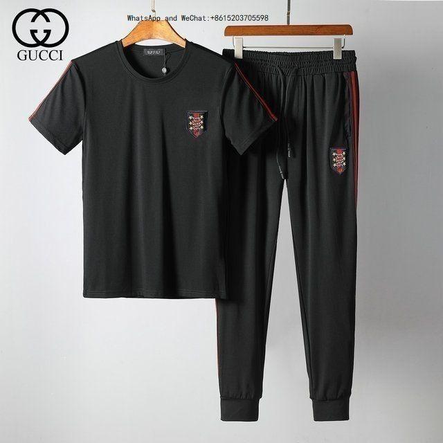 Estate Uomo Set T shirt a maniche corte T shirt bicolore Tuta Sportiva da uomo Abbigliamento sportivo Tuta da uomo