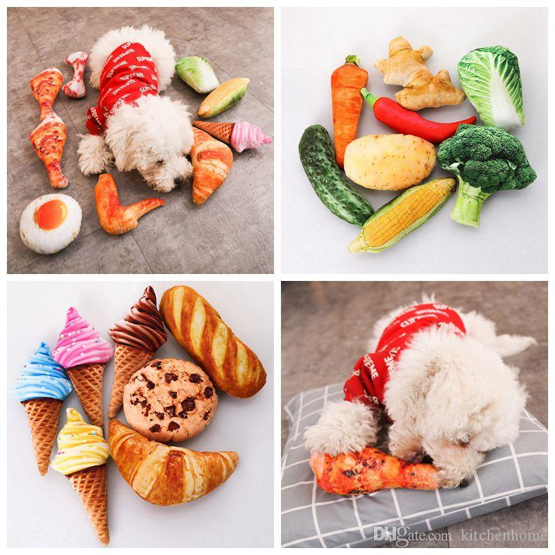 Artificial Toys with Sound for Pet Dogs and Cats Vegetable Food Design Bite Resistant Plush Toys Simulation Koi Mint Pets Cats Catnip Toys