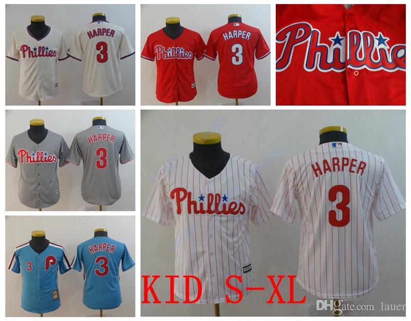 96d994ff6 2019 Youth Harper Newest Phillies 3 Bryce Harper Philadelphia Kid Retro  Stitched Baseball Jerseys From Tenplus, $18.98   DHgate.Com