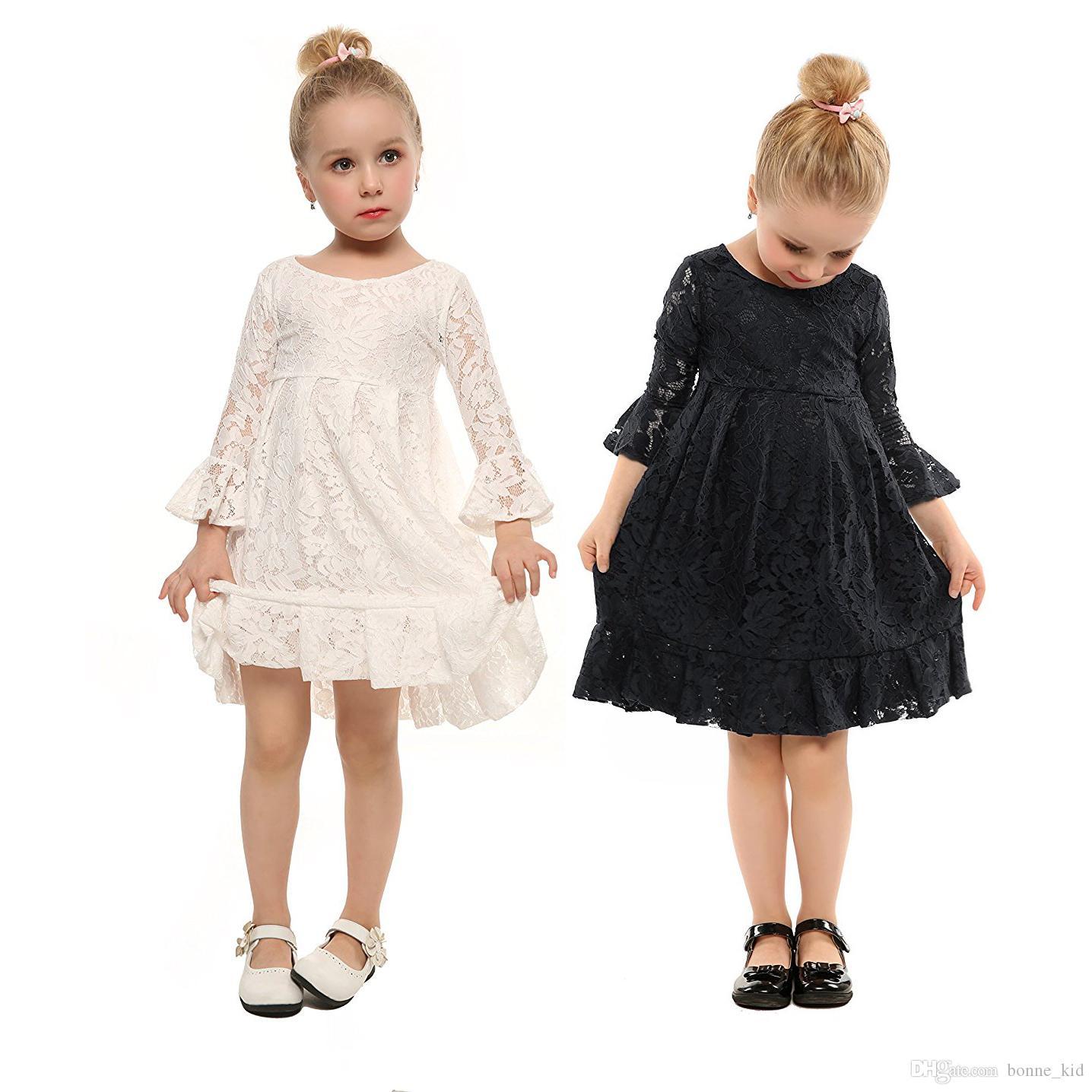 4a251d46f Compre Niños Niñas Boda Vestido De Flores Bautizo Vestidos De Encaje Niñas  Blanco Negro Princesa Floral Primavera Otoño Bebé Tutu Vestidos 3 12Y A  $13.76 ...