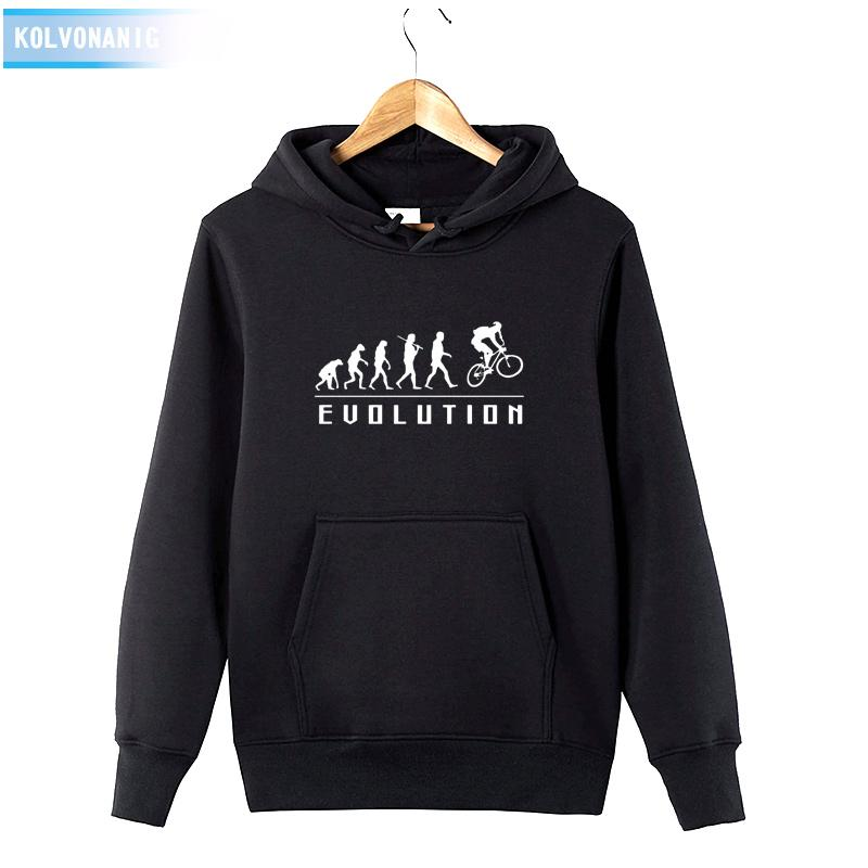 HUMAN EVOLUTION RIDE ON A BICYCLE Print Sweatshirt Tracksuit For Men's 2018 Winter Hoody Dress Cotton Funny Pullover Hoodies