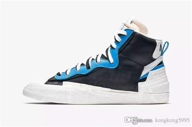 2019 Release Authentic Blazer Mid High sacai White Black Legend Blue Dunk Snow Beach LD Waffle Men Basketball Shoes BV0072-001 BV0072-700