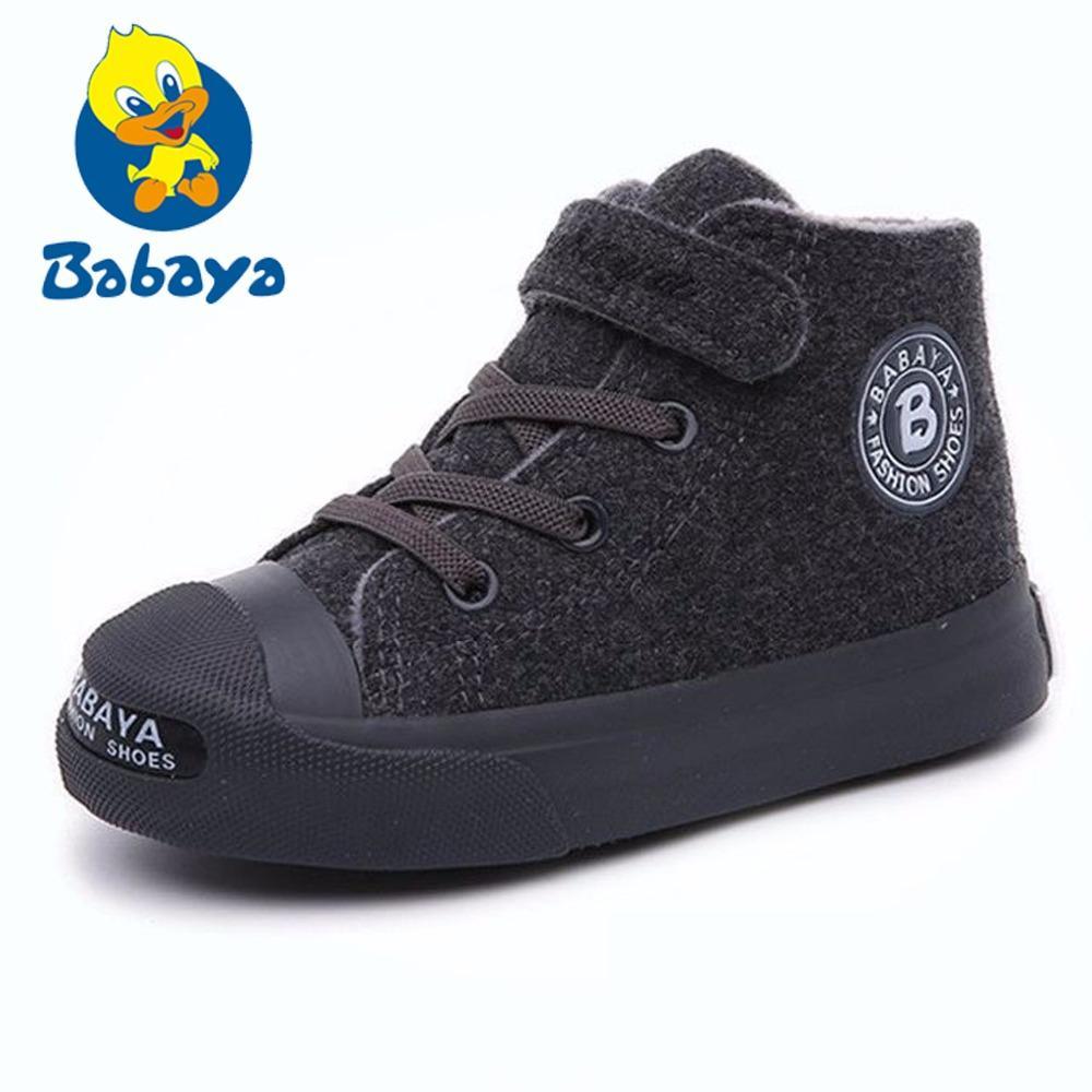 23b047454db Compre Marca Otoño Botas Para Niños Zapatos Cortos De Felpa Cálidos Flock  Boys Botas Para Niñas Nuevo Invierno Negro Gris Suela De Goma Zapatillas De  ...