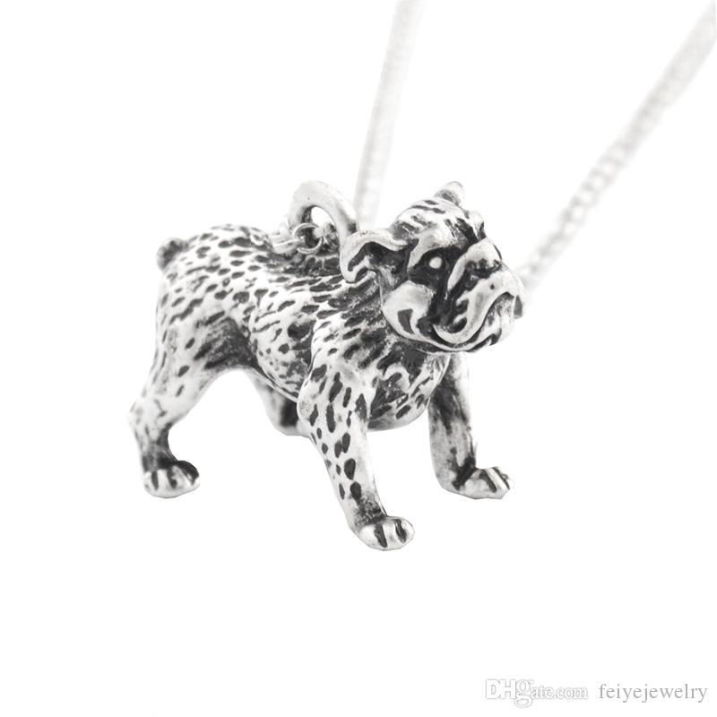 Boho Antique English Bulldog Pendant Necklace Accessories Chain Friends Male Necklaces For Women Men Collier Femme Pet Lover Gift