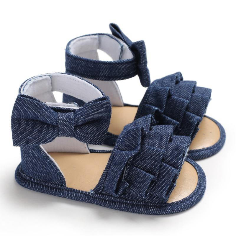 Denim Cloth Baby Girls Sandals Newborn Baby Shoes Summer Toddler Sandals Lace Bowknot Girls Shoes