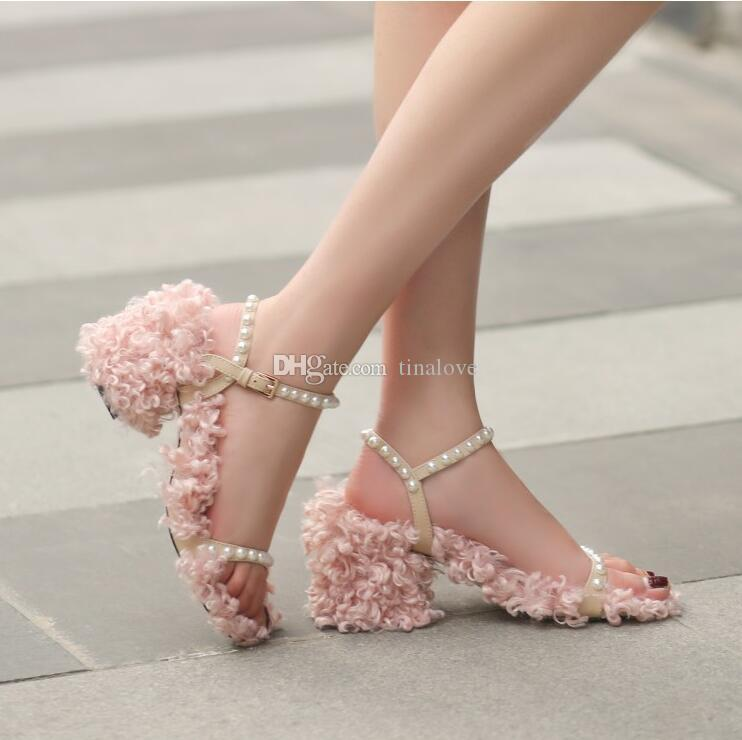 Zapatos Mujer Pink Fur Sandals Pearls Studs Women Shoes Gladiator Chunky Heels Ankle Strap Heels Party Dress Sandales Summer