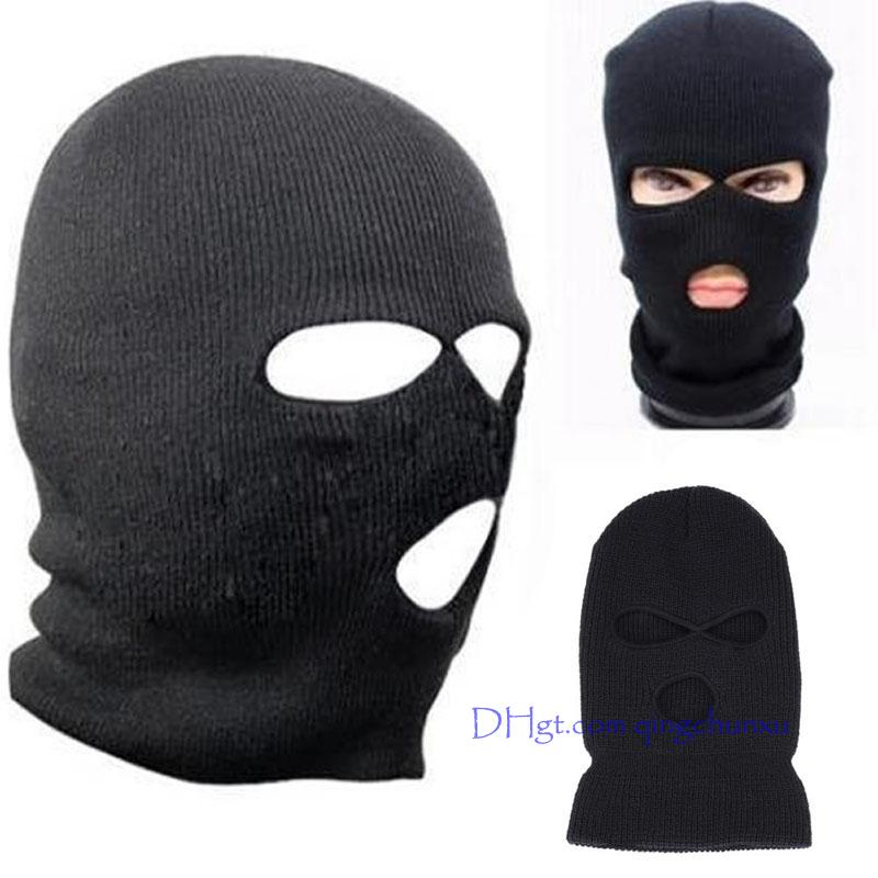 f423dfba71fd 2019 2018 Black Knit 3 Hole Ski Mask BALACLAVA Hat Face Shield Beanie Cap  Snow Winter Warm 2018 Summer Fashion Black Hood From Qingchunxu