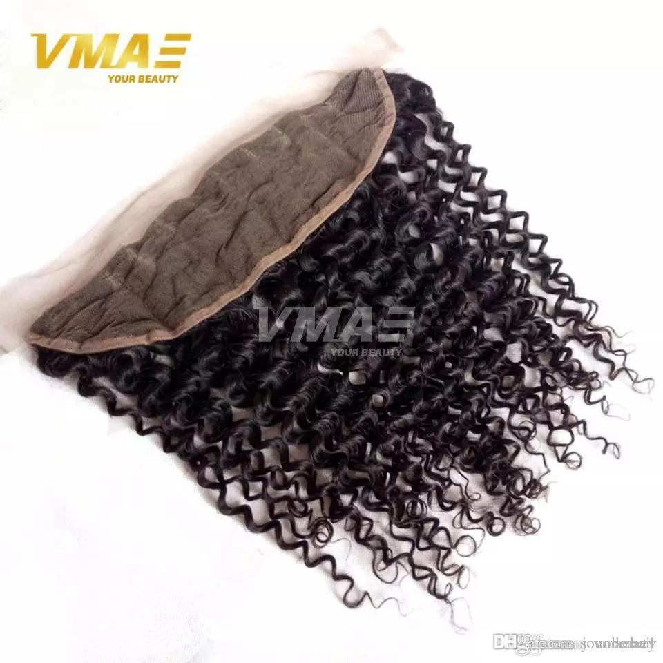 Kinky Curly human Brazilian Hair Lace Frontal Closure 13x4 With Free Shipping Human Hair Ear To Ear Lace Closure Bleached Knots