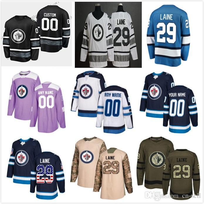 d41d197e6 2019 All Star Custom 29 Patrik Laine Winnipeg Jets Blake Wheeler Mark  Scheifele Dustin Byfuglien Alternate Hockey Jersey Men Women Kids Hockey  Jerseys ...