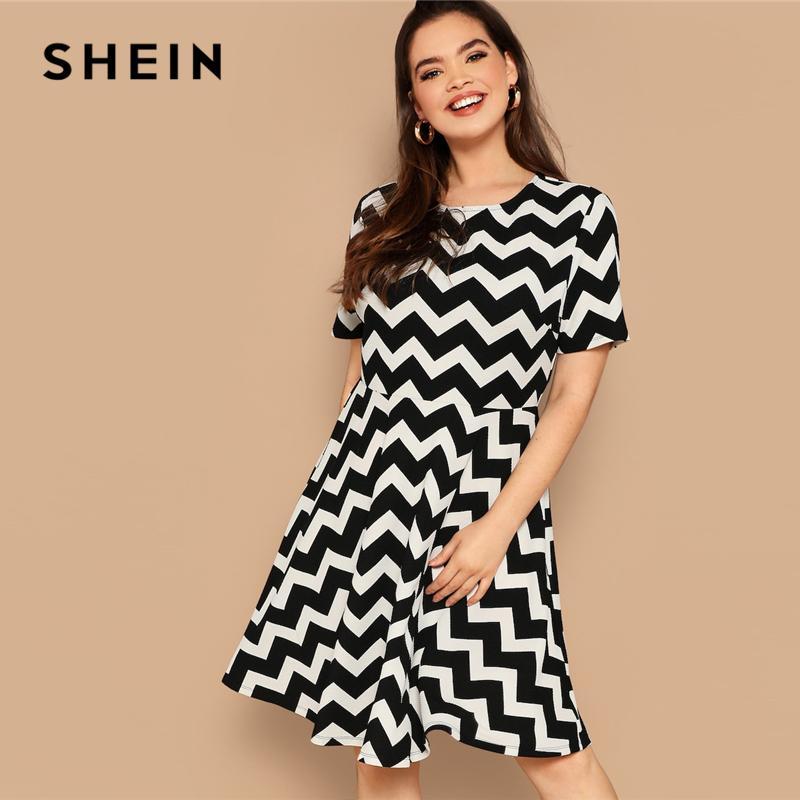 2019 Plus Size Black White Chevron Stripe Print Zipper Dress Women ...