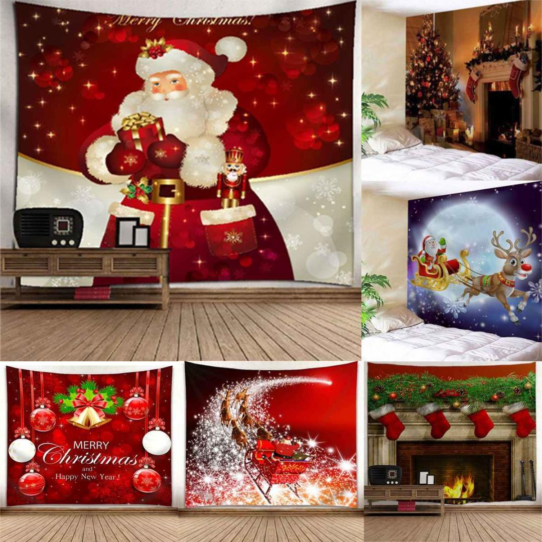 Christmas Wall Hanging Decorations.Christmas Wall Tapestry Home Decorations Wall Hanging Tapestries Beach Towels Gift Background Photograph Backdrop Ornamentation
