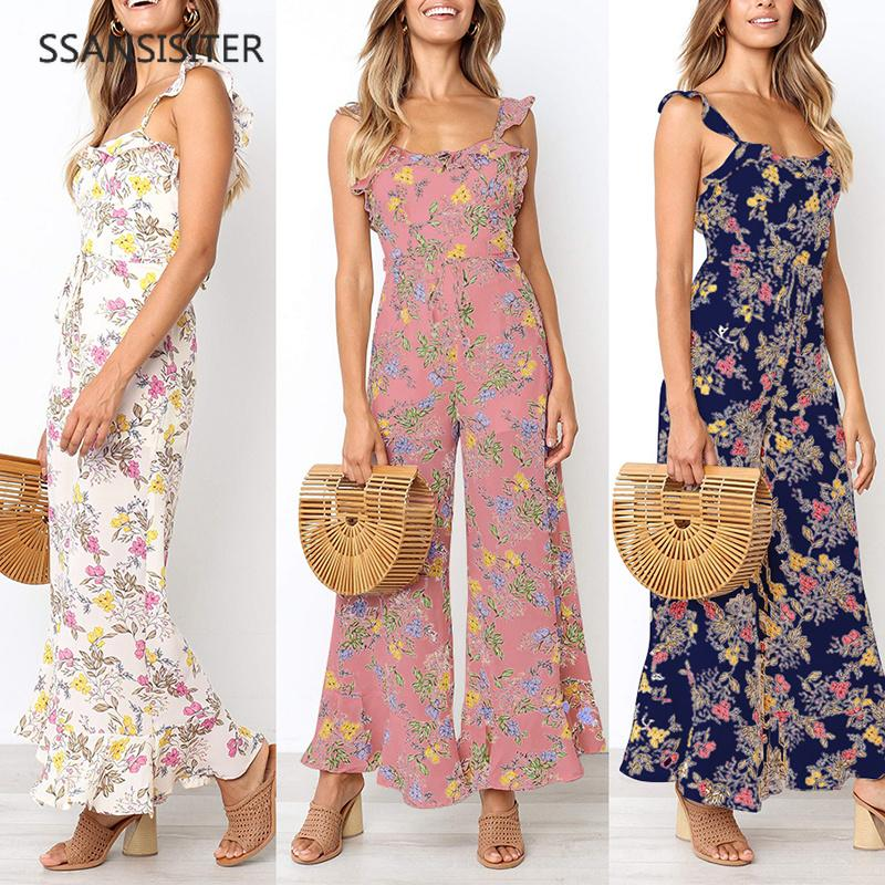edc2a44c38 2019 Sling Print Bohemian Floral Cami Jumpsuit Women Sleeveless Sashes  Belted Loose Wide Leg Strap Women Jumpsuit Rompers From Gavinuni
