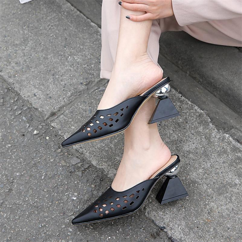 17b71c069afb8 Dilalula Vintage Pointed Toe High Strange Heels Women Sandals Genuine  Leather Sandals Women Classic Hollow Mules Shoes Woman