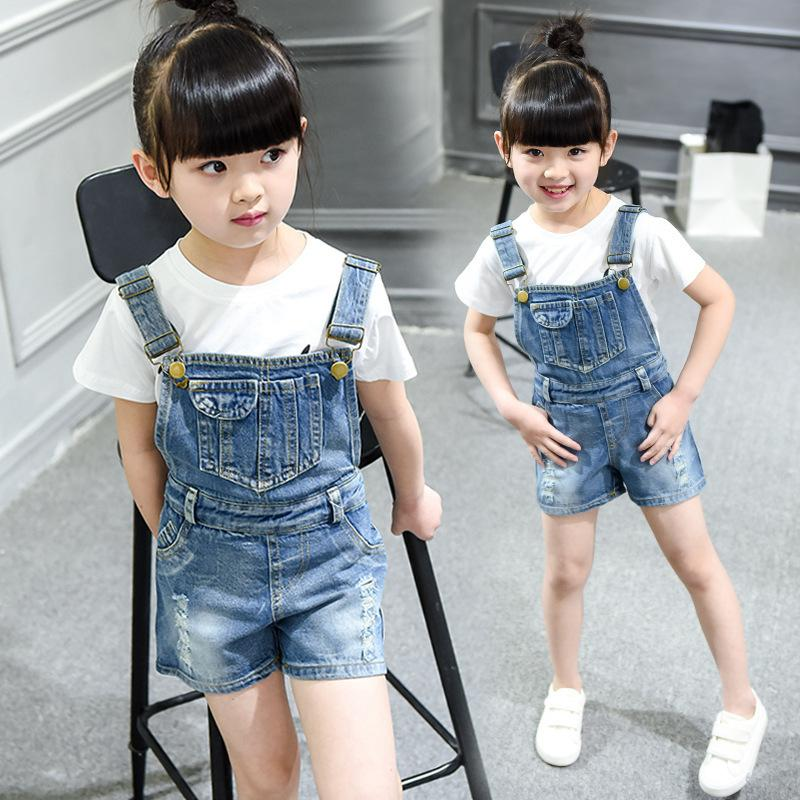 f5ad9c5caa0 Teen Girl Overalls Parent Child Cowboy Shorts Children Korean Pants Denim  Overalls Clothes For 2 3 4 5 6 7 8 9 10 11 12 13 Years Baby Red Suspenders  Cute ...
