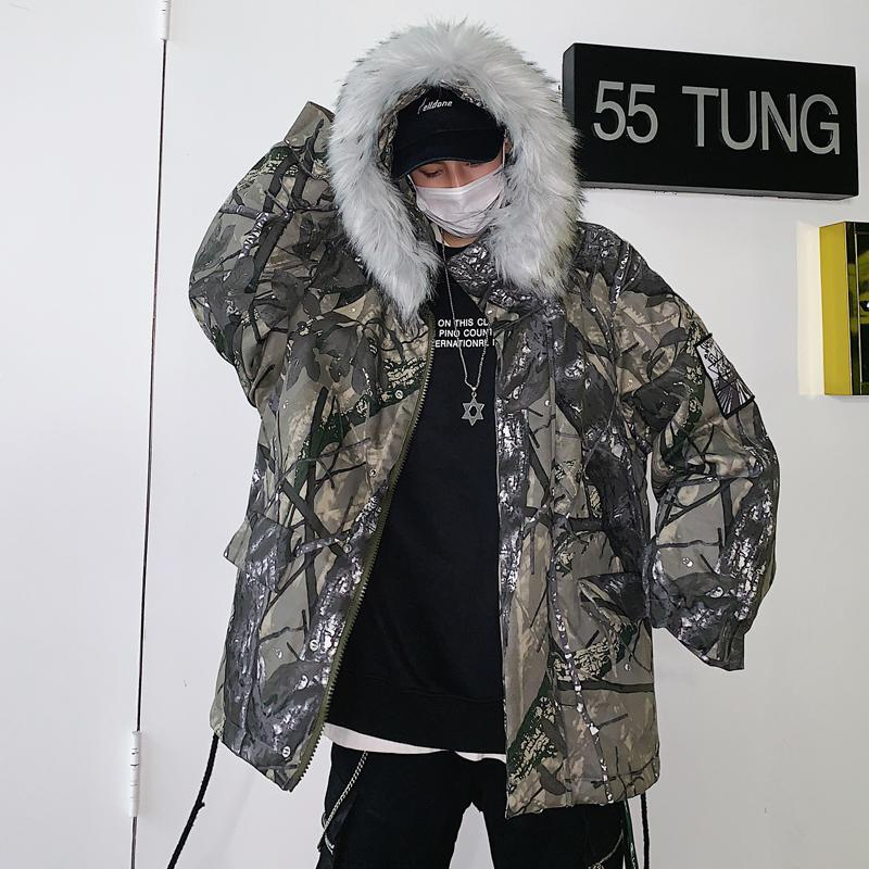 87ac747db Winter Warm Camouflage Hooded Wool Collar Cotton Coat Hip Hop Thick Jacket  Tactical Clothing Male Camouflage Windbreakers Jean Biker Jacket Fur Collar  Jean ...