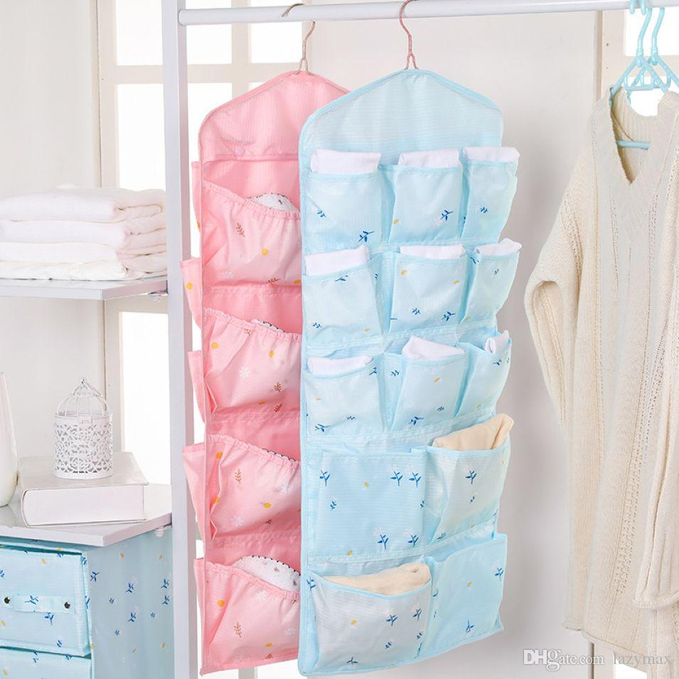 Double Side Underwear Hanging Organizer Bedroom Socks Bra Hanging Storage Bag Wall Closet Hanging Storage Cabinet 2 Pieces ePacket