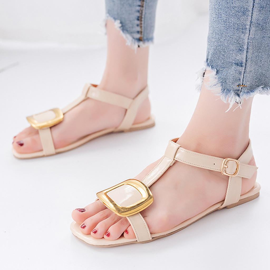 a13a2cb1b375f Women Sandals Flat Ankle Shoes Female Summer Flat Belt Buckle Sandals  Leather Comfort Casual Fish Mouth Roman T Strap Sandals Espadrilles  Birkenstock ...