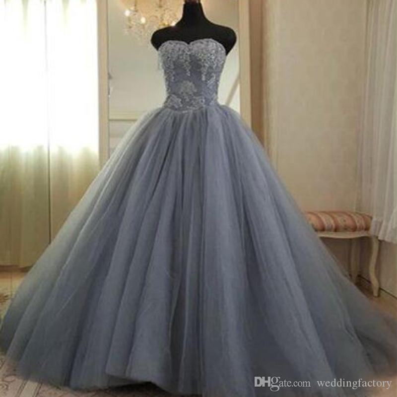 Discount Silver Grey A Line Wedding Dresses Strapless Soft