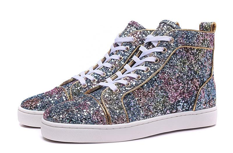 2019 New Fashion High Top Multicolored Glitter Red Bottom Shoes For Men Women Top Qulity Pink Purple Genuine Leather Dress Shoes