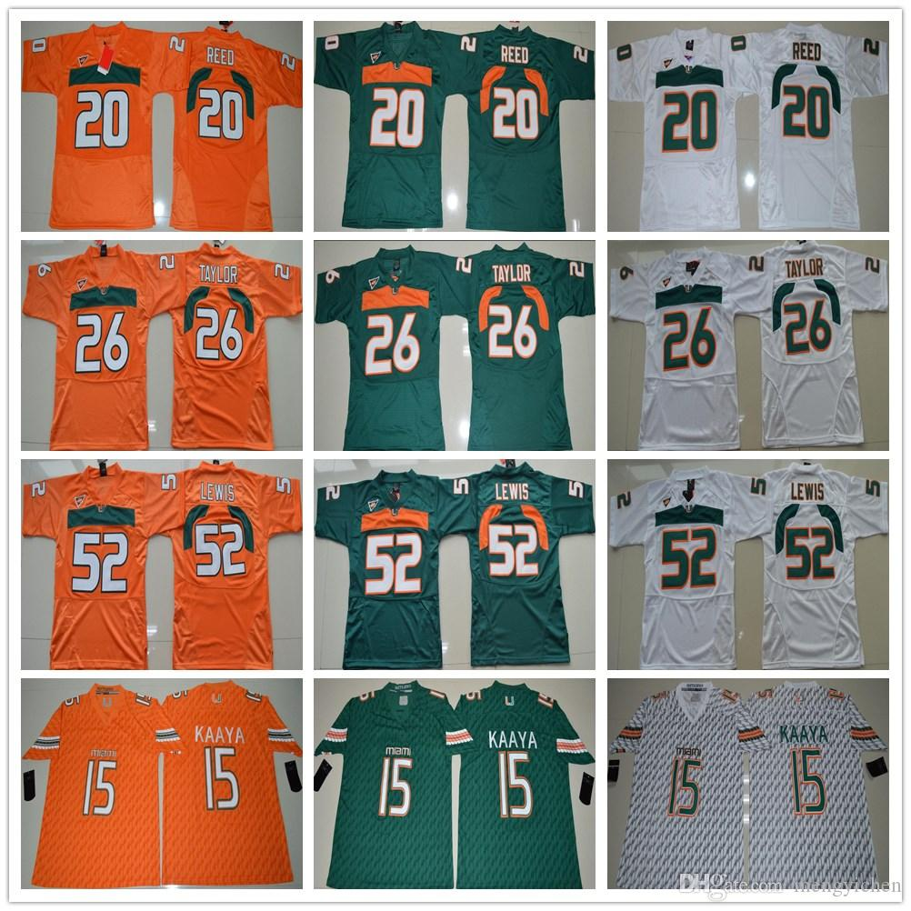 aa632038c ... cheap ncaa miami hurricanes college 15 brad kaaya jersey orange green  white 20 reed 26 sean