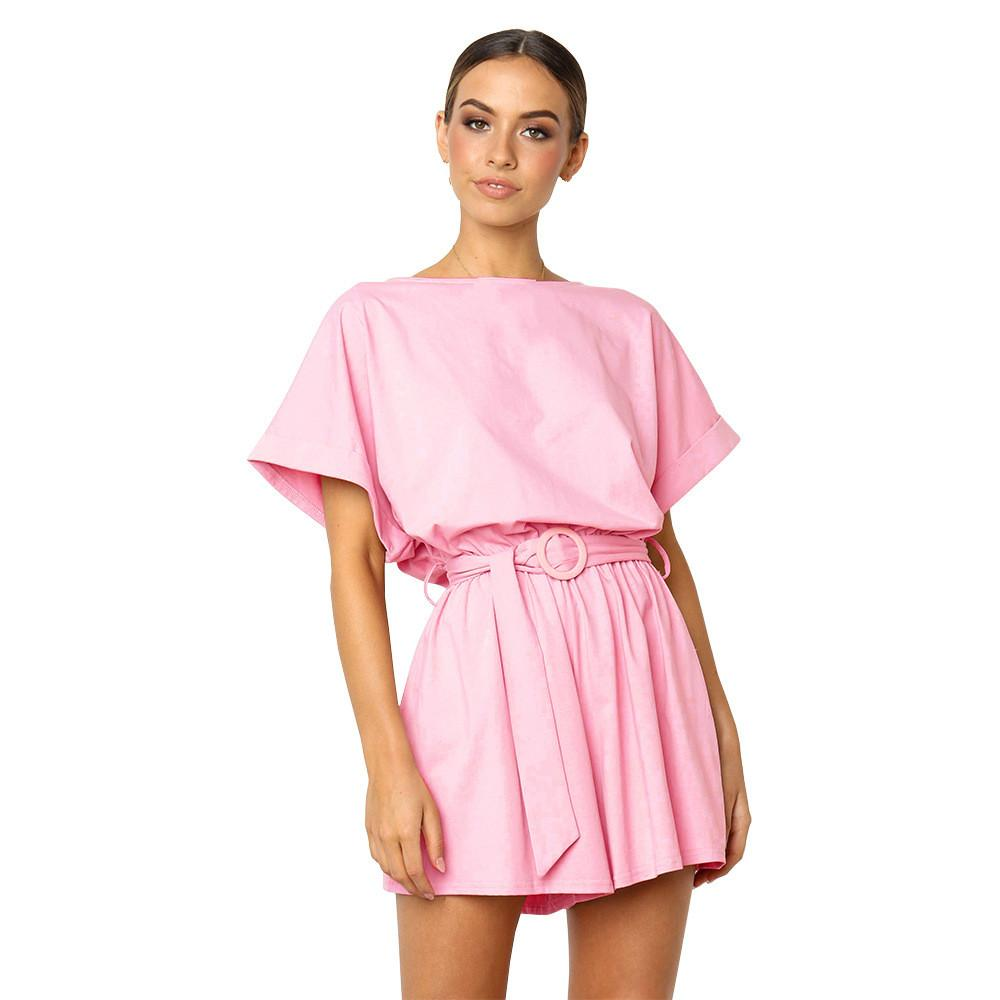 6415997e064 2019 Summer Girls Jumpsuit Pink Sexy New Arrival Womens Playsuit Short  Sleeve Casual Straps Ladies Clothing Female Solid Streetwear From Cyril03