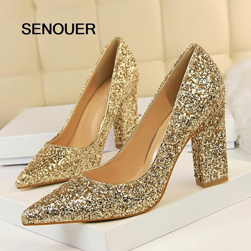6065c95a63 Dress Senouer Bling Women Pumps Wedding Shoes Women White Bling Party Shoes  Women High Heels Sexy Pointed Toe Thick High Heels Size 34