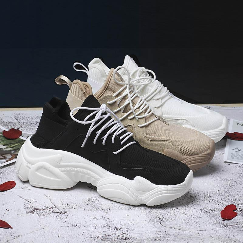 c382eefcb7f 2019 New Women s Chunky Sneakers Basket Women Casual Platform Shoes Canvas  Female Trainers Ulzzang Dad Shoes High Top Sneakers