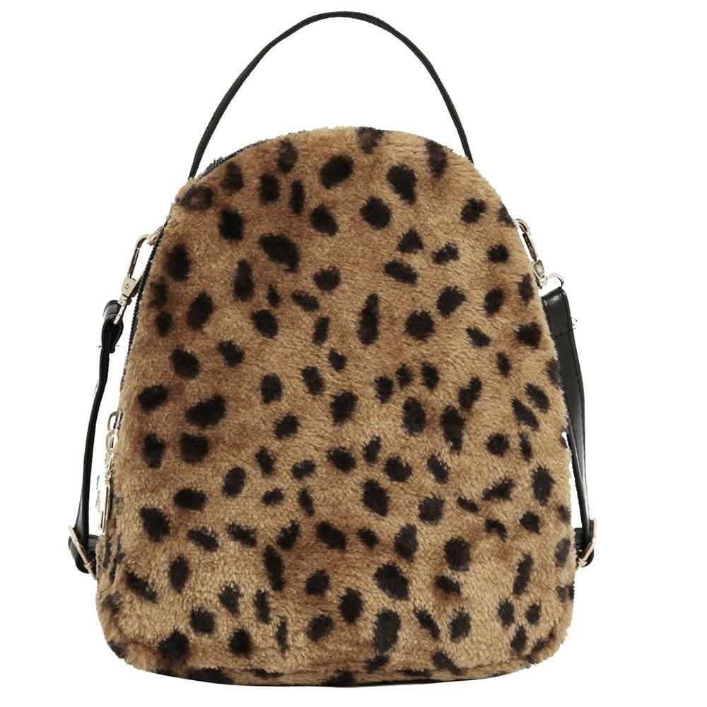 Women Girl Plush Leopard print Student Satchel Travel School Crossbody Bag Hand Casual Large Capacity Dropshipping#40