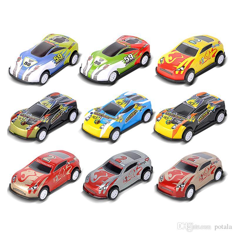 2019 Pull Back Car 9 Patterns Assorted Mini Plastic Vehicle Set Pull