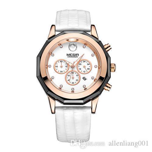 b97e8c0e46bc Compre MEGIR Marca De Lujo Para Mujer Reloj Cronógrafo Moda Reloj De Pulsera  De Cuarzo Para Mujer Amantes Relojes Reloj Reloj 2042L A  51.0 Del ...