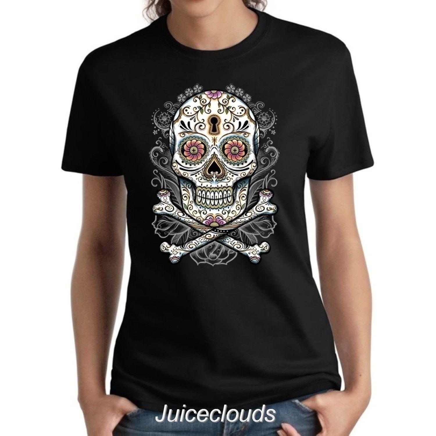 93e2bbd9 Floral Sugar Skull Ladies Shirt Day Of The Dead Skeleton Tattoo Women's Tee  Size Discout Hot New Tshirt Cattt Windbreaker Pug Tshirt