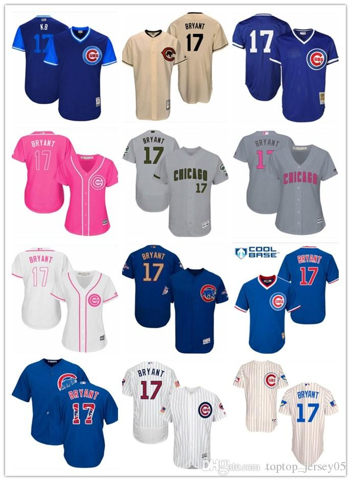 302d43f7a 2018 Top Chicago Cubs Jerseys  17 Kris Bryant Jerseys Men WOMEN ...