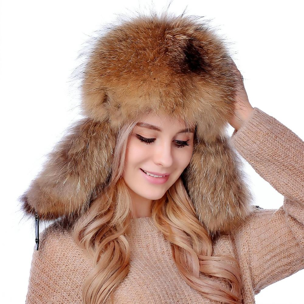 c4f432546cd96 2019 2018 Russian Fur Hat For Women Ushanka Cossack Raccoon Fox Fur Russian  Hats Top Quality Oudoor Winter Warm Ears Bomber Windproof From Melontwo