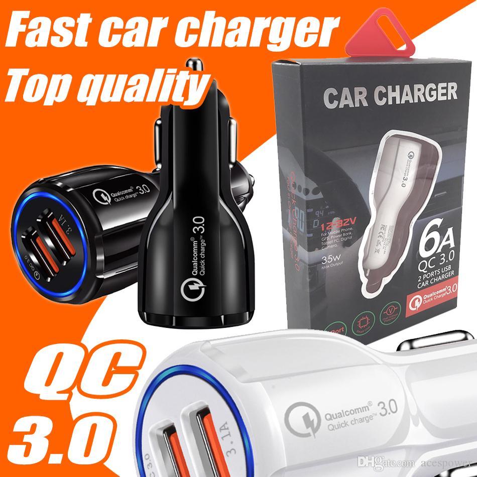 자동차 충전기 빠른 충전 3.1A Qualcomm 빠른 듀얼 USB 전화 충전기 9V 2A 12V 1.2A QC3.0