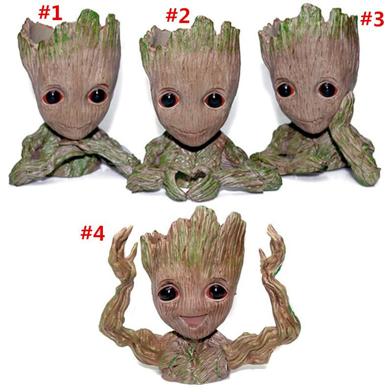Fashion Guardians of The Galaxy Flowerpot Tree Man Baby Groot Action Figure Pen Container Doll Cute Model Toys The Avenger Pen Flower Pot
