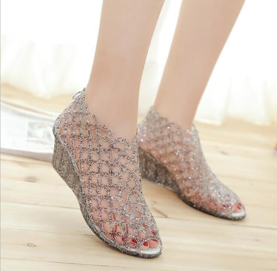 e625144977b0 Summer New Women s High-heeled Fish Mouth Sandals Crystal Glitter ...